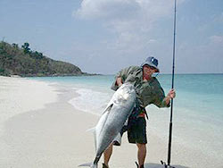 Giant Trevally from the beach in the Andaman Islands